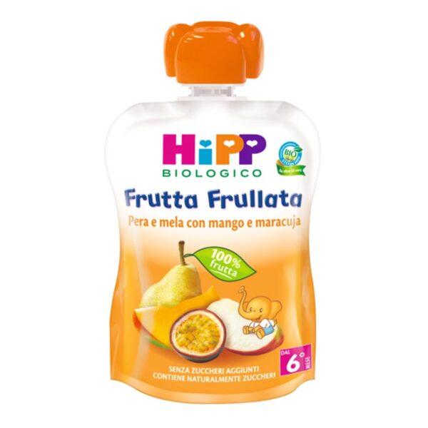 frutta frullata pera e mela con mango e maracuja