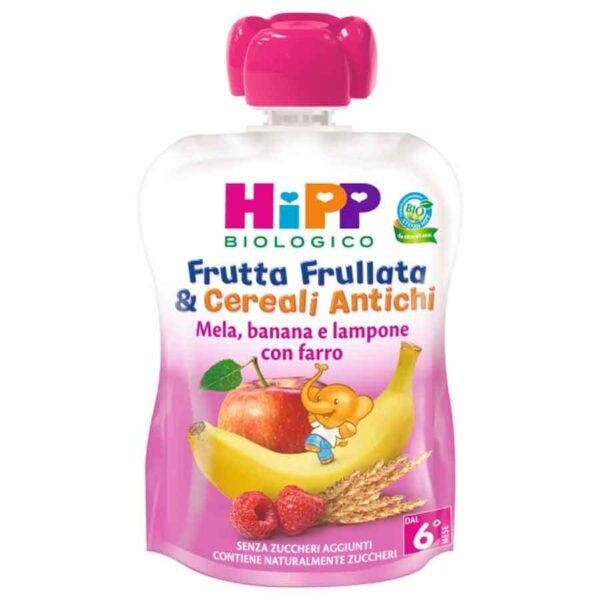 Frutta frullata e cereali antichi hipp