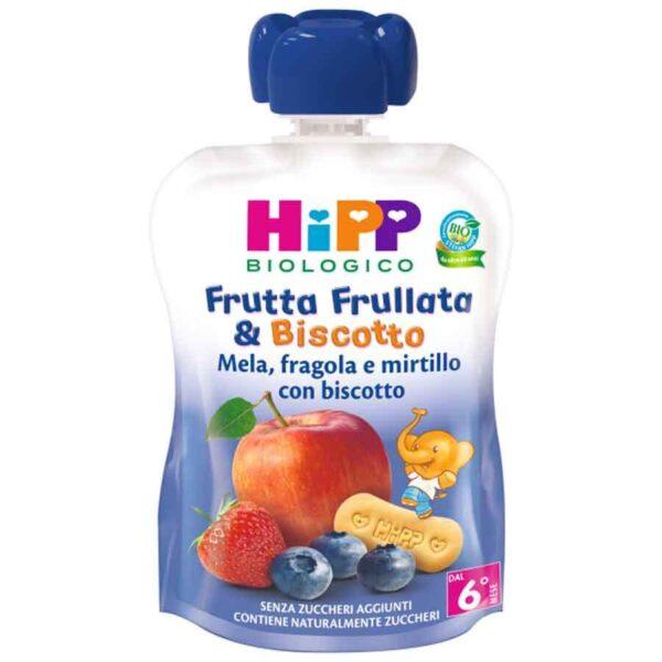frutta frullata e biscotto mela, fragola e mirtilli con biscotto Hipp
