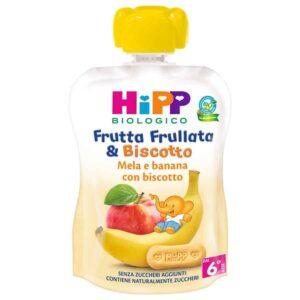 frutta frollata e biscotto mela e banana con biscotto hIPP