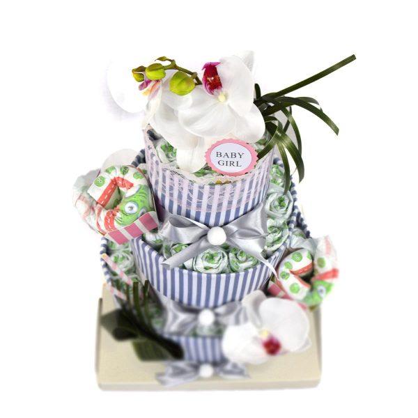 Torta di Pannolini Orchidea Vintage